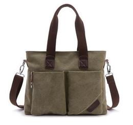 Wholesale Multi Use Shoulder Bag - Hot Men Canvas Bag Top Quality Handbag Vintage Casual Daily Use Black Briefcase Top Handle Laptop Bags Shoulder Cross Body Bag Multi Color