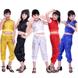 Wholesale Latin Dance Wear Top - women stage sexyJazz costumes dance wear Female Hip Hop Ballroom Performance dance Outfits Cloth set Tops+Pants Kids jazz dance stage wear