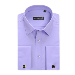 Wholesale French Cuff Clothing - Fashion New Men's Dress Shirts French Cuff Shirts With Cufflinks Long Sleeve Wedding Shirts Camisa Masculina Brand Clothing