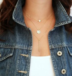Wholesale Sliver Chains - Fashion Geometry Charms Crystal 3 Layers Gold Sliver Color Pick Chain Necklace Women Jewelry Free Shipping