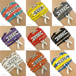 Wholesale Orange Awareness - (10 Pieces Lot) Infinity Love Disease Awareness Hope Ribbon Bracelet Grey Orange Yellow Blue Red Purple Multilayer Wrap leather Custom