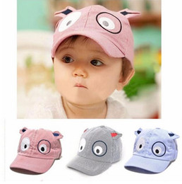 Wholesale Baby Girl Cute Hats - 2017 Kids Boys Girls Cute Cartoon Dog Hat Sun Hat Baseball Cap baby photography props baby bonnet kids hats bonnet enfant G594