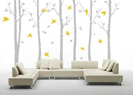 Wholesale Tree Decor Stickers - Wholesale 6pcs Removable Waterproof Birch Tree Flying Birds Wall Decor for Baby Nursery PVC Wall Stickers Living Room Decals TV Backgounrd