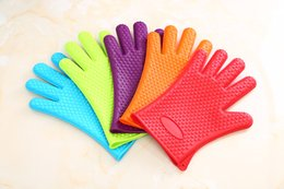 Wholesale Customized Gloves - 142g Heat Resistant Silicone BBQ Gloves Thick Microwave Ovens Insulated Gloves Safe Green Red Black Blue Orange Colors Customized Wholesale