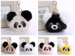Wholesale Panda Ornament - Brand new Cute panda hair ball keychain cartoon hair ball pendant bag car ornaments fur pendant KR367 Keychains mix order 20 pieces a lot
