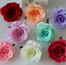Wholesale Bloom Silk - Big Blooming Artificial Rose Blossom 9cm Silk Flower Heads for Decoration Mariage Fake Rose Flower OOA2440