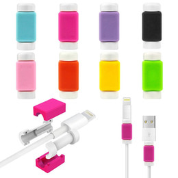 Wholesale Ipad Chargers Usb Cable - Cable Charger Protectors Silicone Colorful Lightning Data Cable USB Charging Data Line Saver Protector For Iphone 5s 6s 6 plus 7 ipad ipod