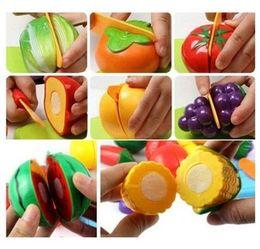 set kids pretend role play cocina fruta vegetales alimentos juguetes cortar nio