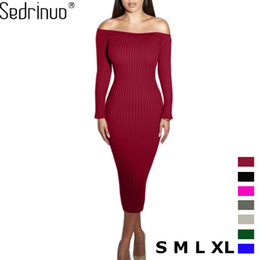 Wholesale Woman Green Fleece Lined - Wholesale- Fashion Long Sleeve Off Shoulder Slash Neck Sexy Club Women Dress Slim Bodycon Knitted Sweater Knee-Length Party Night Dresses