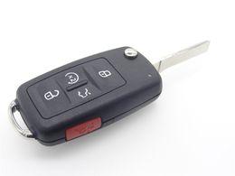 Wholesale Vw Remote Case - Flip Folding 5 Buttons 4 + 1 Panic Uncut Blank Foliding Flip Remote Fob Key Shell Case Cover For VW Passat Jetta Golf With Logo