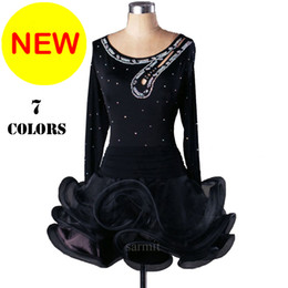 Wholesale Rhinestone Costumes - CADL002- 2017 New Women Latin Dance Dress 7 Colors Rhinestones Sequin Sheer Samba Dance Costumes Tango Salsa Dress Samba Costume