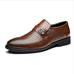 Wholesale Black Hole Office - Hollow Out Super Cool Breathable Men Casual Shoes Summer New Business Style Quality Genuine Leather Pointed Hole Shoes