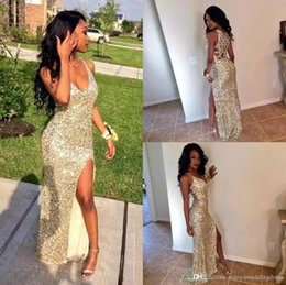 Wholesale Graduate Picture - 2017 Sexy Gold Sequins Arabic V Neck Prom Party Dresses High Split Mermaid Backless Plus Size Cheap African Graduate Gowns Eveing Wear