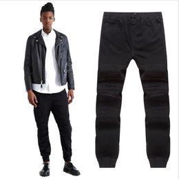 Wholesale Break Boots - Wholesale- 2016 new Men Ripped black jogger jeans Ankle length biker jean Harajuku slim fit broken Knee rip Hip-Hop pants with Drawstring