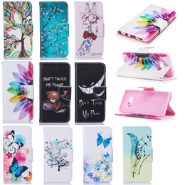 Wholesale Galaxy Flower Wallet - 2017 Cartoon Painting Leather Wallet Flower Bear Butterfly Tower Case For Samsung Galaxy S8 S8 edge 2017 A320 A520 J7 J5 J3 J5PRIME