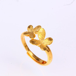 Wholesale 24k Gold Wedding Rings Wholesale - Fashion OL Creative Alloy Metal Butterfly Plated 24k Gold Opening Fingers Ring for Women Adjustable Size R6819002