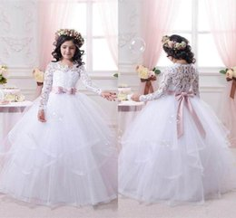 Wholesale Little Girls Pageant Dress Sale - 2017 White Flower Girl Dresses for Weddings Long Lace Sleeve Girls Pageant Dresses First Communion Dress Little Girls Ball Gowns Hot Sale