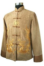 Wholesale Men Tang Suit Chinese - Wholesale- Gold New Traditional Chinese Men's Fleece Embroidery Jacket Coat Long sleeve Tang Suit Dragon Size S M L XL XXL XXXL M1148