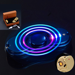 Wholesale Windproof Led Lighter - Decompression Toy LED Rainbow Fidget Spinner Lighter Windproof fire EDC Metal Hand Spinners Fidget Toy Spinning Top USB Charge for Autism