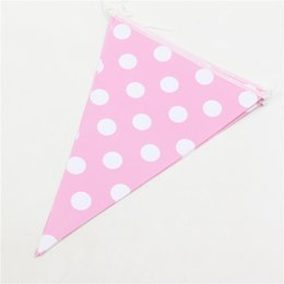 Wholesale Paper Pennant - Wholesale- Pink Dot pennants Paper Flag Party Decoration Banner Bunting for kids pink girl party supplies 10pcs pack