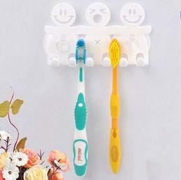 Wholesale Tooth Brushes Wholesale - Minimum Order Quantity 20pcs, Cute Design Smile Suction Hooks 5 Position Tooth Brush Holder Bathroom Set Cartoon Sucker Toothbrush Holder
