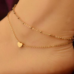 Wholesale gold layer anklet - New Fashion Jewelry Foot Anklets Gold Elegant Double Chain Love Heart Bead Anklet Ankle Bracelet Beach Foot Jewelry Double Layer foot chain
