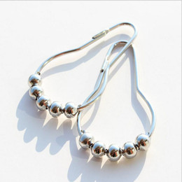 Wholesale Polished Nickel Curtain Rings - Fashion Hot Polished Satin Nickel 5 Roller ball Shower Curtain Rings Curtain Hooks 7.8*3.6cm