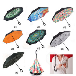 Wholesale Double Fabric Umbrellas - Windproof Reverse Folding Double Layer Inverted Chuva Umbrella Self Stand Inside Out Rain Protection C-Hook Hands For Car Wholesale 0703160