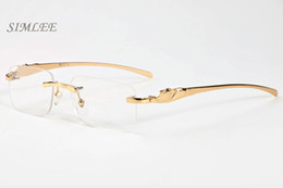 Wholesale Vintage Shield Sunglasses - 2017 brand sunglasses cat eye buffalo horn glasses gold silver frames eyeglasses clear lenses vintage mens designer sunglasses with case