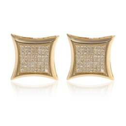 Wholesale Metal Round Plates - 2017 high quality luxury pure 316L stainless steel round metal stud Earrings yellow gold plated wedding jewelry women men