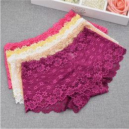 Wholesale Womens Sexy Boxers - 10 Colors Womens Sexy Underwear Hollow Out Floral Lace Panties Briefs Boxers Shorts Knickers Soft Feeling 6pcs free shipping
