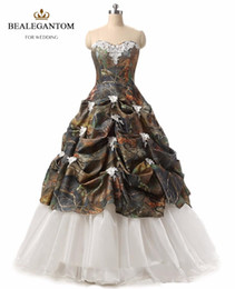 Wholesale Sweetheart Debutante Dresses - 2017 New Sexy Sweetheart Ball Gown Appliques Camouflage Quinceanera Dresses Ball Gown Prom Pageant Debutante Dress Party Gown QC 478