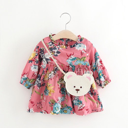 Wholesale Wholesale Children Boutique Clothes - Lovely Girls Large Flower Dresses 2017 Fall Kids Boutique Clothing Children Apparel 1-4T Little Girls Long Sleeves Dresses with Bag