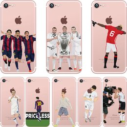 Wholesale Wholesalers Football Phone Cases - For iPhone 5 5S SE 6 6S 7 7 PLUS Football Superstar Winner Messi Ronaldo Rooney Ultra Thin Football Clear Phone Cases Coque