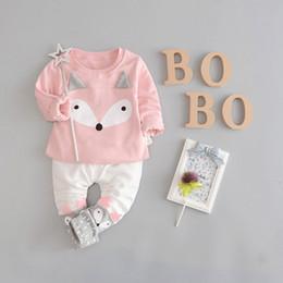 Wholesale Neck Fox - New kids suit girl boys clothing fox pattern top+pant set 2 pieces children clothes suit cotton clothing good quality