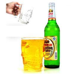 Wholesale Beer Bottle Art - Crystal Skull Head Glass Cup 500ML Shot Bone Vodka Whiskey Beer Bottle Bar Party Barware Drinking Mug OOA1820