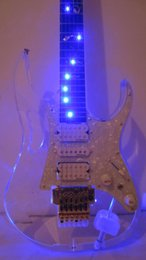 Wholesale Crystal Electric Guitar - Super Cool 7-V LED Light Transparent Crystal Glass Electric Guitar Acrylic Body & Maple Neck LED Light Fingerboard 4 Colors Light Changed