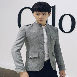 Wholesale Chinese Fashion Tunic - Wholesale- MEBOSYA 2016 Spring New Men's Brand Clothing Slim Blazer Suit Chinese Tunic suit Male casual fashion Outerwear