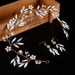 Wholesale Real Bridal Jewelry - Wholesale Fashion White Rhinestone Headpiece Earrings Real Image Pearl Bridal Headband Handmade Wedding Hair Accessories Jewelry