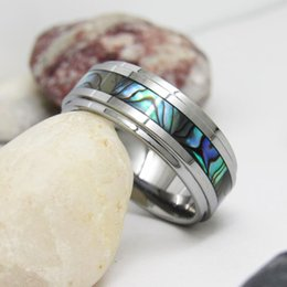 Wholesale Mixed Sea Shells - Sea Shell Inlay Tungsten Wedding Ring for Asia Men 8mm Width WRY-600