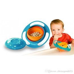 Wholesale Healthy Bag Pack - Novelty ABS Plastic Healthy Baby Kids Non Spill Feeding Toddler Saucer Bowl Practical 360 Rotating Design Avoid Spilling Opp Bags Packing