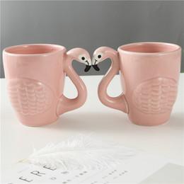 té de pájaro Rebajas Taza de café del pájaro de los flamencos 3D con la manija Tazas de cerveza de la taza de té del agua del color rosado Decoración casera