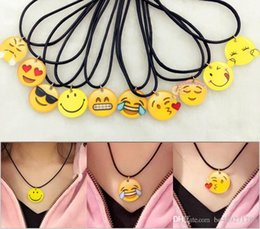 Wholesale Resin Statement Chain - Harajuku 15 Styles Emoji Clavicle Statement Necklace Simple Resin Emoji Pendant With Wax Rope Chain For Women Jewelry