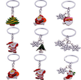 Wholesale Mix Record - Free shipping Hot Santa Claus Christmas Tree Snowman Keychain Drops Metal Pendant Christmas Gifts KR010 Keychains mix order 20 pieces a lot