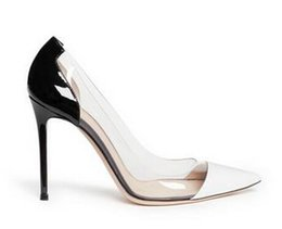 Wholesale Wedding Pumps Cheap - Cheap Patent Leather Gianvito Rossi Heels Best Rubber Pumps Heels Latest Fashion Women High Heels Exclusive leather Pointed Toe Pumps dress