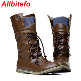 Wholesale Womens Leather Snow Boots - Wholesale-ALLBITEFO Warm Fur Big size 34-43 Lace up Motorcycle Fashion Snow boots leather flat boots Womens Brown Black Yellow