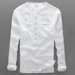 Wholesale Mens Linen Shirts - Wholesale- 2017 New style linen shirt men casual white shirts men long sleeve shirt mens fashion round neck tie-button mens shirts camisa