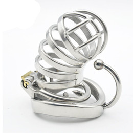 Wholesale Scrotum Steel Cage - cb6000s penis chastity cage male chastity device stainless steel cbt with arc cock ring Anti-off ring Scrotum separator for man