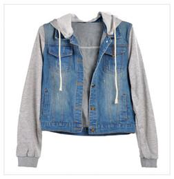 Wholesale Sleeve Drawstring Coat Jacket - Wholesale- FANALA Autumn Winter Women Jacket Female Clothing 2017 Blue Jeans Hooded Long Sleeve Denim Coat Drawstring Plus size Outerwear