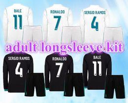 Wholesale Madrid 14 - Real Madrid 17-18 long sleeve soccer jerseys kit home away 2017 2018 #14 MBAPPE Ronaldo james bale benzema kroos modric football shirts